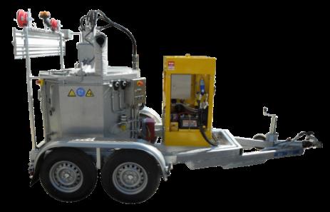 Specialbyggd låg trailer med smältpaket med 400L smältgryta för gjutasfalt eller bitumenbaserade fogmassor